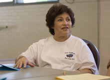 Paul Fraughton   Salt Lake Tribune Shirlene Estacion shares her views with a group of seniors  attending a class at River's Bend Senior Center. The theme of the class was
