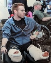 Gran Cantrell during his recovery from injuries after an IED exploded under the military vehicle he was riding in. Photo courtesy of Cantrell