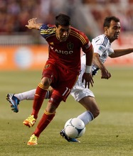 RSL's Javier Morales with the ball, as Real Salt Lake hosts the L.A. Galaxy, MLS Soccer at Rio Tinto Stadium Wednesday, June 20, 2012 in Salt Lake City, Utah. (AP Photo/Trent Nelson, The Salt Lake Tribune)