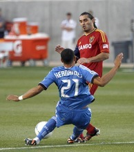 San Jose Earthquakes defender Jason Hernandez blocks a shot from Real Salt Lake forward Fabian Espindola in RSL's 1-2 home loss in Rio Tinto Stadium in Sandy, Utah. Stephen Holt / Special to the tribune