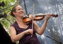 Michael Mangum  |  Special to the Tribune  Bronwen Beecher plays the violin in a group performance of the Salt Lake City-based celtic fusion band named Stonecircle at the Utah Arts Festival in downtown Salt Lake City on Sunday, June 24, 2012.