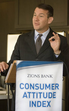 Paul Fraughton | Salt Lake Tribune Randy Shumway, CEO of The Cicero Group Inc., delivers results of Zions Bank's monthly Consumer Attitude Index Tuesday inside a model home at Garbett Homes' TerraSol development.
