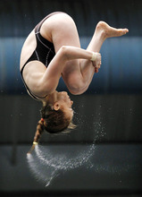 Gracia Leydon-Mahoney competes in the women's 10-meter platform final at the U.S. Olympic diving trials, Sunday, June 24, 2012, in Federal Way, Wash. (AP Photo/Elaine Thompson)