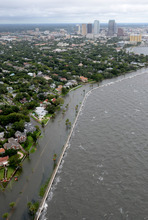 Water covers Bayshore Blvd in Tampa, most of which has been closed by the Tampa Police Department, on Monday, June 25 2012.  A tropical storm warning is in effect the west coast of Florida Monday, including the Tampa Bay area, as Tropical Storm Debby began showing a movement to the northeast. (AP Photo/Tampa Tribune, Paul Lamison)   ST. PETERSBURG OUT; LAKELAND OUT; BRADENTON OUT; MAGS OUT; LOCAL TV OUT; WTSP CH 10 OUT; WFTS CH 28 OUT; WTVT CH 13 OUT; BAYNEWS 9 OUT