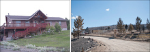Michael Mangum  |  Special to the Tribune  The 2 photos are of the property of Dave Taylor before and after it was burned to the ground in the Wood Hollow fire that ripped through the area of Indianola in Sanpete county.