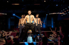 This film image released by Warner Bros. shows, from left, Adam Rodriguez, Kevin Nash, Channing Tatum, and Matt Bomer in a scene from