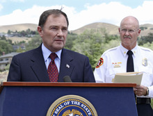 Lennie Mahler  |  The Salt Lake Tribune Utah Gov. Gary Herbert, along with Fire Marshal Brent Halladay, urges Utahns to use caution and follow local restrictions when setting off fireworks in the dry conditions for the upcoming holidays. Thursday, June 28, 2012.