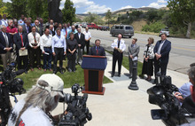 Lennie Mahler  |  The Salt Lake Tribune Utah Gov. Gary Herbert urges Utahns to use caution and follow local restrictions when setting off fireworks in the dry conditions for the upcoming holidays. Thursday, June 28, 2012.