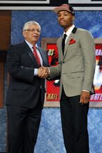 NBA Commissioner David Stern, left, poses with the No. 6 overall draft pick Damian Lillard, of Weber State, who was selected by the Portland Trail Blazers in the NBA basketball draft, Thursday, June, 28, 2012, in Newark, N.J. (AP Photo/Bill Kostroun)