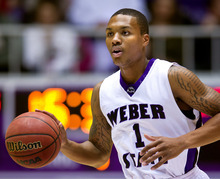 Weber State Wildcats guard Damian Lillard takes the ball down court against the Southern Utah Thunderbirds during the first half Saturday, Dec. 10, 2011, at the Dee Events Center in Ogden, Utah. (© 2011 Douglas C. Pizac/Special to The Tribune)