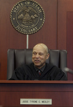 Michael Brandy  | Special to the Tribune Judge Tyrone Medley hears cases during his last day as a 3rd District Court Judge at the Matheson Courthouse Thursday. Medley has spent nearly 30 years on the bench.