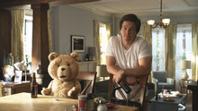 This film image released by Universal Pictures shows Mark Wahlberg, right, with the character Ted, voiced by Seth MacFarlane in a scene from