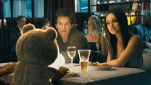 This film image released by Universal Pictures shows Ted, voiced by Seth MacFarlane, Mark Wahlberg and Mila Kunis in a scene from