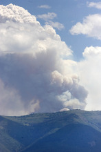 Paul Fraughton | Salt Lake Tribune The Seeley fire as seen from the command post for the Wood Hollow Fire in Moroni.  Thursday, June 28, 2012