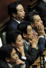 Japanese Prime Minister Yoshihiko Noda, top left, is seated with his Cabinet members during a plenary session of the lower house of Parliament in Tokyo Tuesday, June 26, 2012. Noda made a final plea for unity on a tax hike vote Tuesday that has divided his ruling party and could weaken his hold on power. They are from top right to bottom left, Deputy Prime Minister, also in charge of Social Security and Tax Reform Katsuya Okada, International Affairs and Communications Minister Tatsuo Kawabata, Foreign Minister Koichiro Gemba and Economy, Trade and Industry Minister Yukio Edano. (AP Photo/Koji Sasahara)