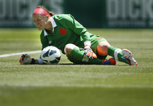 Scott Sommerdorf  |  The Salt Lake Tribune              Canada goalkeeper Erin McLeod (18) had a leg cramp early in the first period of the U.S. women's national team's 2-1 victory over Canada in its final match before going to the London Olympics, Saturday, June 30, 2012.