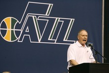 Paul Fraughton     The Salt Lake Tribune. Utah's Kevin O'Connor announces the selection of Alec Burks. The Utah Jazz  held their NBA draft party at Energy Solutions Arena  , Thursday  June 23, 2011