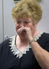 Kim Raff  |  The Salt Lake Tribune Laretta Beesley, mother of UHP trooper Aaron Beesley, who died during a search and rescue operation, becomes emotional during a press conference about her son's death at the UHP's section 3 office in Farmington, Utah on July 1, 2012.
