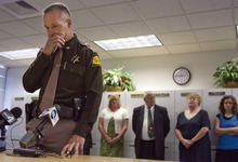 Kim Raff | The Salt Lake Tribune UHP Superintendent Daniel Fuhr becomes emotional while making a statement during a press conference to discuss the death of UHP trooper Aaron Beesley, who died during a search and rescue operation, at the UHP's section 3 office in Farmington, Utah on July 1, 2012. Fuhr was Beesley's direct supervisor.