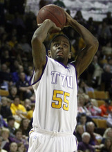 Tennessee Tech's Kevin Murphy (55) shoots in the second half of an NCAA college basketball game against Murray State on Saturday, Feb. 25, 2012, in Cookeville, Tenn. Murray State won 69-64. (AP Photo/Wade Payne)