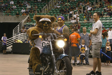 Scott Sommerdorf  |  The Salt Lake Tribune              The Jazz Bear arrives at an NBA draft party for fans at EnergySolutions Arena in Salt Lake City on Thursday, June 28, 2012.