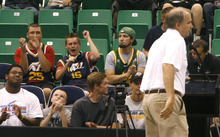 Scott Sommerdorf  |  The Salt Lake Tribune              Fans react after Utah Jazz President Randy Rigby spoke to the crowd during an NBA draft party at EnergySolutions Arena in Salt Lake City on Thursday, June 28, 2012.