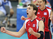 Ryan Millar, left, exults during the USA men's volleyball gold medal match at the 2008 Beijing  Olympics. But it appears Millar, a former BYU Cougar, has been left off the U.S. team roster for the upcoming London Games. (AP Photo/Koji Sasahara)
