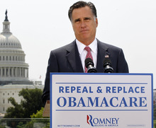 FILE - In this June 28, 2012, file photo Republican presidential candidate, former Massachusetts Gov. Mitt Romney speaks about the Supreme Court's health care ruling near the U.S. Capitol in Washington. In promoting the health care law, President Barack Obama is repeating his persistent and unsubstantiated assurance that Americans who like their health insurance can simply keep it. Romney says quite the opposite, but his doomsday scenario is a stretch. (AP Photo/Charles Dharapak, File)