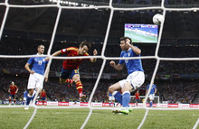 Spain's David Silva scores a goal  during the Euro 2012 soccer championship final  between Spain and Italy in Kiev, Ukraine, Sunday, July 1, 2012. (AP Photo/Jon Super)