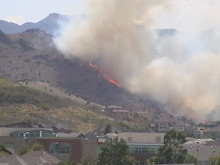 Heather Adams | Courtesy photo Heather Adams shot this photo of the wildfire burning Friday in the foothills near Herriman from her home at 5678 Cottage Rose Circle.