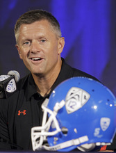 Utah head coach Kyle Whittingham talks to reporters at the Pac-12 football media day in Los Angeles Tuesday, July 26, 2011.  (AP Photo/Reed Saxon)