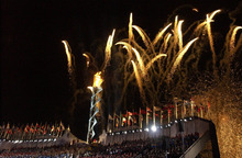 Leah Hogsten | The Salt Lake Tribune file photo Fireworks explode above the Olympic cauldron at Rice-Eccles Stadium during the Opening Ceremony.