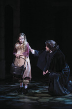 Sadi Weir (left) as Young Cosette and J. Michael Bailey as Jean Valjean in the Utah Shakespeare Festival's 2012 production of Les Misérables. Credit: Karl Hugh | Utah Shakespeare Festival 2012