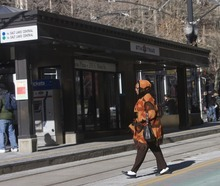 Al Hartmann  |  The Salt Lake Tribune Dangerous violations of safety rules -- such as this pedestrian jaywalking across Main Street tracks in Salt Lake City -- abound around TRAX trains. UTA has a new ordinance that enables transit police to cite people for