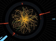 This 2011 image provide by CERN, shows a real CMS proton-proton collision in which 4 high energy electrons (green lines and red towers) are observed in a 2011 event. The event shows characteristics expected from the decay of a Higgs boson but is also consistent with background Standard Model physics processes.  To cheers and standing ovations, scientists at the world's biggest atom smasher claimed the discovery of a new subatomic particle Wednesday July 4, 2012, calling it