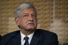 Andres Manuel Lopez Obrador, presidential candidate for the Democratic Revolution Party (PRD), speaks during a news conference in Mexico City, Thursday, July 05, 2012. Lopez Obrador alleges that Enrique Pena Nieto's Institutional Revolutionary Party, or PRI, engaged in vote-buying that illegally tilted millions of votes toward the party that ruled Mexico with nearly virtual control for seven decades, until it lost the presidency in 2000.  By late Thursday, PRI's candidate Pena Nieto was leading the vote count with 38.3 percent, compared to 31.5 percent for Lopez Obrador and 25.5 percent for Josefina Vazquez Mota, presidential candidate of the ruling National Action Party (PAN).  (AP Photo/Alexandre Meneghini)