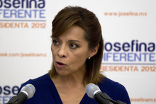 Josefina Vazquez Mota, presidential candidate of the ruling National Action Party (PAN), speaks during a press conference in Mexico City, Thursday, July 5, 2012. Vazquez Mota said Mexico's presidential elections on July 1, were marred by campaign spending violations and