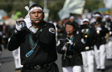Francisco Kjolseth  |  The Salt Lake Tribune Members of the Navajo Nation Marching Band from Arizona attend for the first time as thousands line the streets of downtown Provo to watch the Freedom Festival Parade on Wednesday, July 4, 2012.