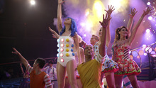 Pop star Katy Perry (foreground) and her dancers perform her hit