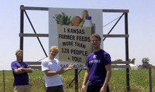 This frame grab from video shows Assaria, Kan., brothers, from left: Kendal, Nathan and Greg Peterson in their video parody on LMAFO's