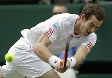 Andy Murray of Britain plays a shot to Jo-Wilfried Tsonga of France during a semifinals match at the All England Lawn Tennis Championships at Wimbledon, England, Friday, July 6, 2012. (AP Photo/Anja Niedringhaus)