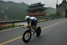 David Zabriskie, an Olympus High School graduate, competes in the Men's Individual Time Trial at the Juyong Pass along the Great Wall of China, Wednesday, August 13, 2008.  Zabriskie finished in 12th place with a time of 1:05:17.82.  Chris Detrick/The Salt Lake Tribune