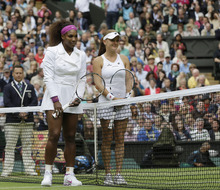 Serena Williams of the United States, left, and Agnieszka Radwanska of Poland pose for photographs before the women's final match at the All England Lawn Tennis Championships at Wimbledon, England, Saturday, July 7, 2012. (AP Photo/Kirsty Wigglesworth)