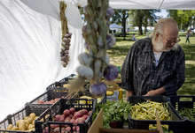 Kim Raff | The Salt Lake Tribune Larry Siwik looks at the produce at Tere's farm booth at The People's Market, which began its seventh season July 8 with local produce, crafts and entertainment at the International Peace Gardens in Salt Lake City. The market will be open every Saturday from 10 a.m.-3 p.m.