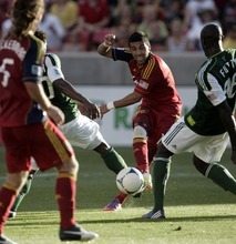 Kim Raff | The Salt Lake Tribune Real Salt Lake player Javier Morales attempts a shot on goal as against the Portland Timbers at Rio Tinto Stadium in Sandy, Utah on July 7, 2012.