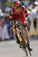 Tejay van Garderen of the US strains in the last meters of the 9th stage of the Tour de France cycling race, an individual time trial over 41.5 kilometers (25.8 miles) with start in Arc-et-Senans and finish in Besancon, France, Monday July 9, 2012. (AP Photo/Laurent Rebours)