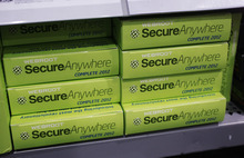 Webroot's SecureAnywhere Complete 2012 software for computer security on display at Best Buy in Mountain View, Calif., Friday, July 6, 2012. After repeated alerts, only a few Americans lost their Internet service Monday. The warnings about the Internet problem have been splashed across Facebook and Google. Internet service providers have sent notices, and the FBI set up a special website. (AP file photo)