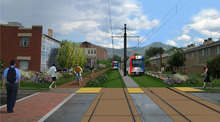 An artist's rendering of the Sugar House streetcar shows urban renewal along the old railroad corridor at 2230 South. The $55 million streetcar project, expected to open in early 2014, spans the the Sugar House Central Business District at McClelland Ave. and the Central Pointe TRAX station at 200 West.