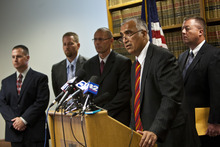 Chris Detrick     The Salt Lake Tribune Salt Lake County District Attorney Sim Gill speaks during a press conference at Office of the Salt Lake County District Attorney Tuesday July 10, 2012. A 41-year-old West Jordan man was charged Tuesday with the June 26 rape and murder of 6-year-old Sierra Newbold, who was found dead in a West Jordan canal. Terry Lee Black was charged with aggravated murder, child kidnapping and rape of a child.