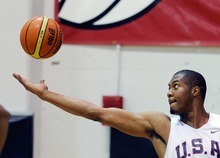 Derrick Favors of the 2012 USA Men's Select Team grabs a rebound during practice at the Mendenhall Center on Monday, July 9, 2012 in Las Vegas. (Photo by David Becker)